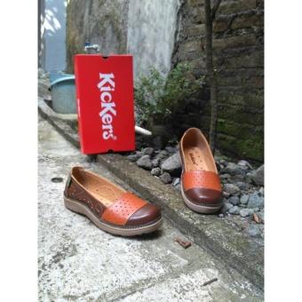 Flat Shoes Kickers Woman Brown Orange