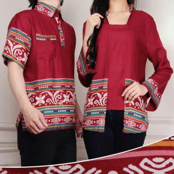 Flavia Store Batik Couple FS0246 - MAROON / Baju Pasangan / Sepasang Busana / Kemeja Pria