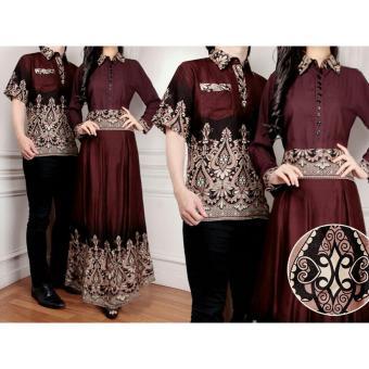 Flavia Store Batik Couple FS0282 - COKLAT / Baju Muslim Pasangan / Sepasang Busana / Kemeja