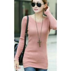 Flavia Store Blouse Lengan Panjang Rajut FS0742 - DUSTY PINK / Baju Kaos T- Shirt