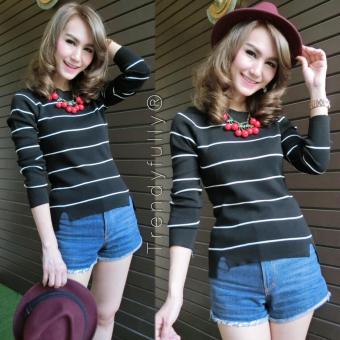 Flavia Store Blouse Lengan Panjang Salur FS0312 - HITAM / Baju Kaos T-Shirt Wanita