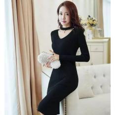Flavia Store Dress Lengan Panjang Choker Rajut FS0377 - HITAM / Gaun Tali Leher / Rnvivamutiara