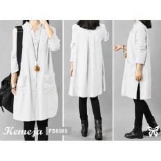 Flavia Store Kemeja Tunik Wanita Lengan Panjang FS0585 - PUTIH / Baju Terusan