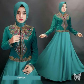 Flavia Store Maxi Dress Lengan Panjang FS0104 - HIJAU / Gamis / Gaun Pesta Muslimah /