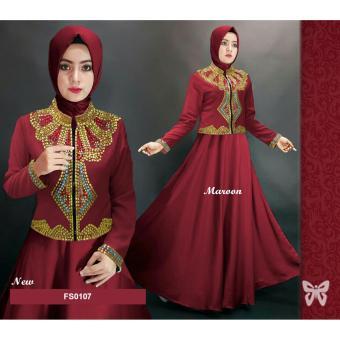 Flavia Store Maxi Dress Lengan Panjang FS0107 - MAROON / Gamis / Gaun Pesta Muslimah /