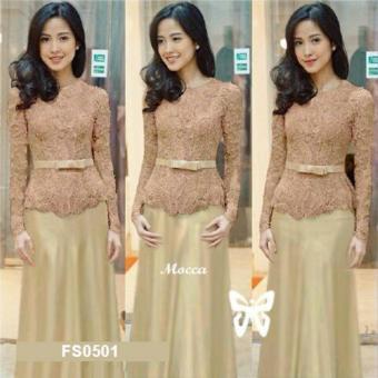 Flavia Store Maxi Dress Lengan Panjang FS0501 - COKLAT MOCCA / Kebaya Modern / Gamis /
