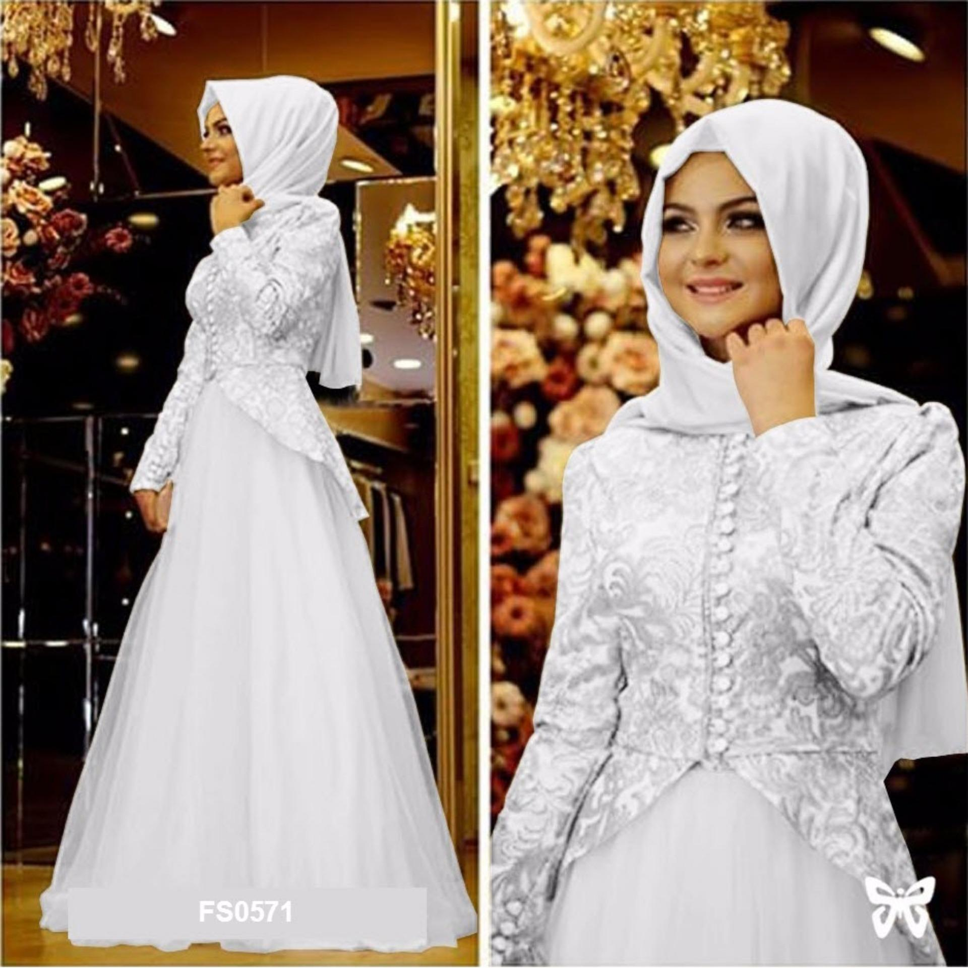 Flavia Store Maxi Dress Lengan Panjang FS0571 PUTIH Gamis Gaun Pesta Muslimah