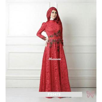 harga Flavia Store Maxi Dress Lengan Panjang Set 3 in 1 Bordir Bunga FS0479 - MAROON / Gamis / Gaun Pesta Muslimah / Baju Muslim Wanita / Hijab / Srrosalinda Lazada.co.id