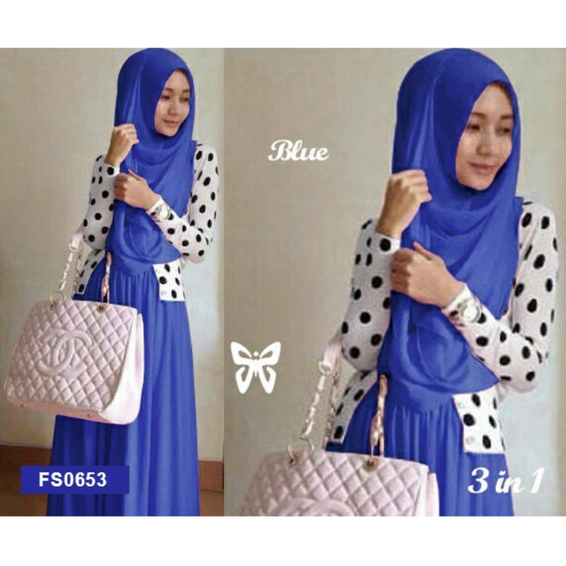 Flash Sale Flavia Store Maxi Dress Set 3 In 1 Fs0653 Biru Gamis  Blazer Denim Pakaian Wanita Navy L Gaun Panjang Muslimah Baju Muslim Hijab Srshireen