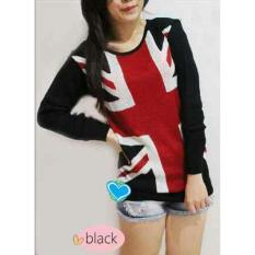 Flavia Store Sweater Wanita Rajut Bendera Inggris FS0180 - HITAM / Baju Hangat / Kaos T