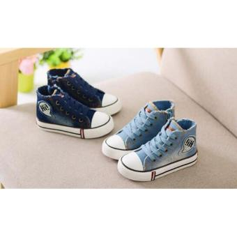 Freeshop Spring Boys High Sneakers Canvas Denim Kids Perpet TaliNavy - S260 - 3