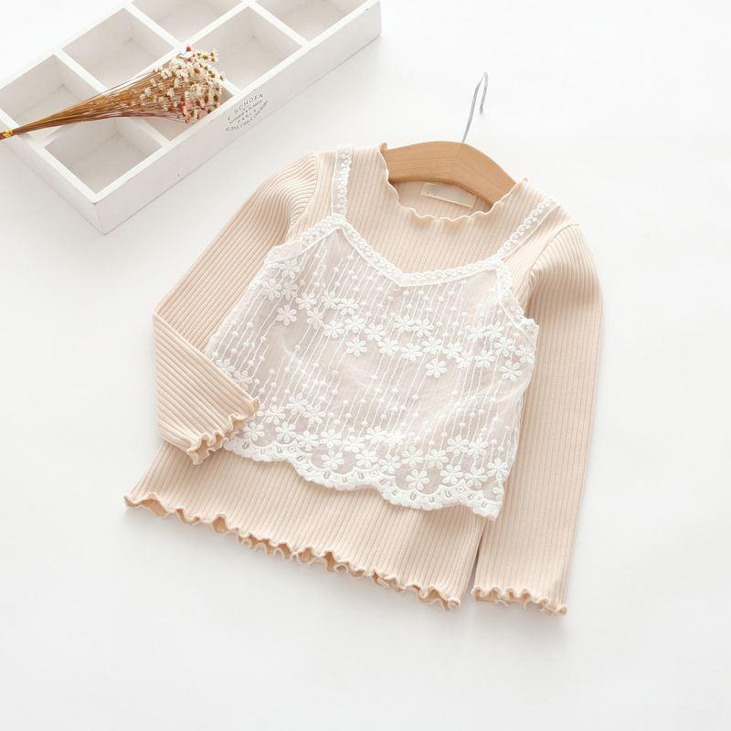 Gadis baru bayi telinga kayu anak pakaian anak-anak (Nasi putih)