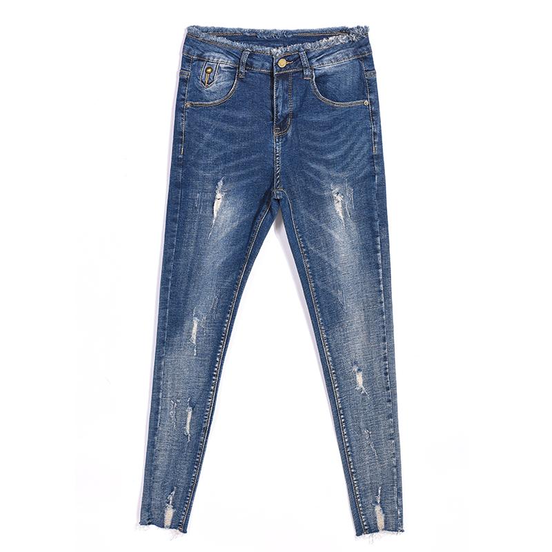 Gadis Slim mahasiswa celana pensil kaki meregangkan celana jeans (Biru dan abu-abu warna