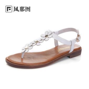 Jual Gambar Angin Yang Korea Fashion Style Kulit Perempuan Baru Musim Panas Sepatu Sandal Putih