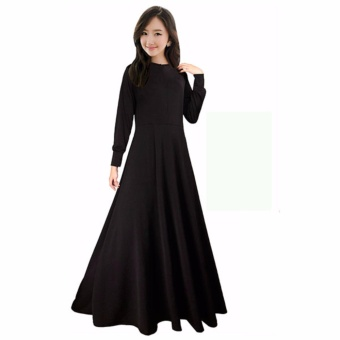 Gamis Jersey Polos Hitam Fit XL