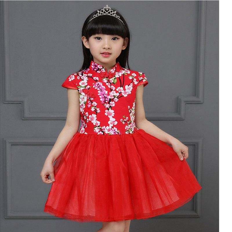 Gaya Cina Kids Dress Gadis Kecil Floral Print Gaun Anak Cheongsam Gaya Gaun Anak Chipao Dress-Intl