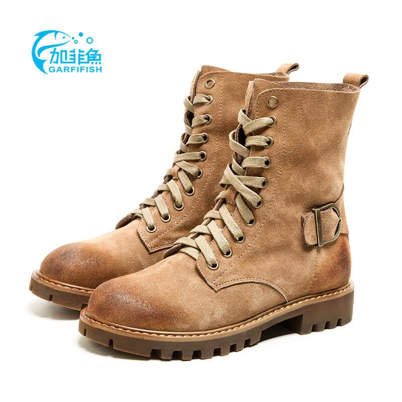 Gaya Inggris kulit siswa tinggi atas sepatu bot bertumit rendah sepatu  Martin sepatu (Cahaya warna b814d5302e