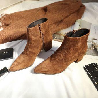 Daftar Harga Gaya Inggris musim gugur dan musim dingin kulit wanita baru sepatu boot sepatu bot