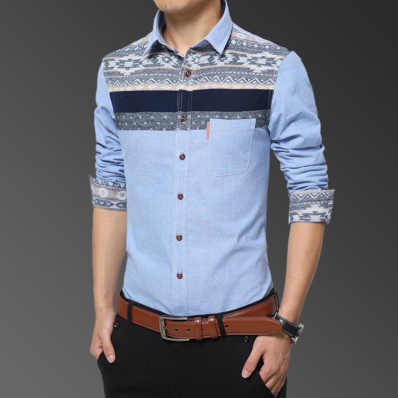 Flash Sale Gaya Korea dari musim gugur lengan panjang pria kemeja kemeja ( Biru muda 16