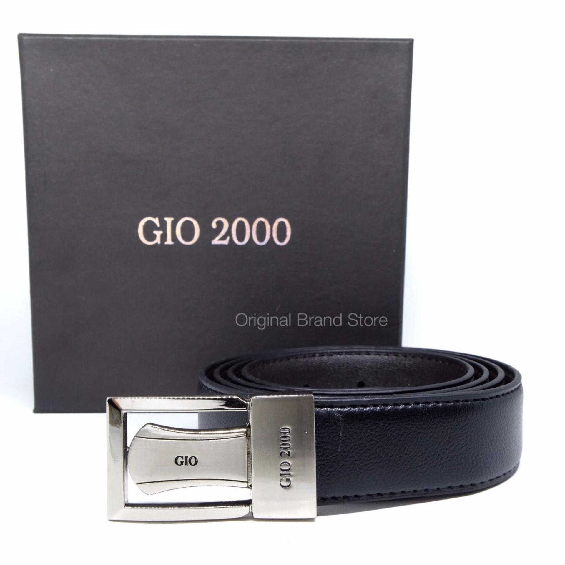 Gesper Sabuk Ikat Pinggang Kulit Asli Pria Cowo Original Gio 2000G546 Black .