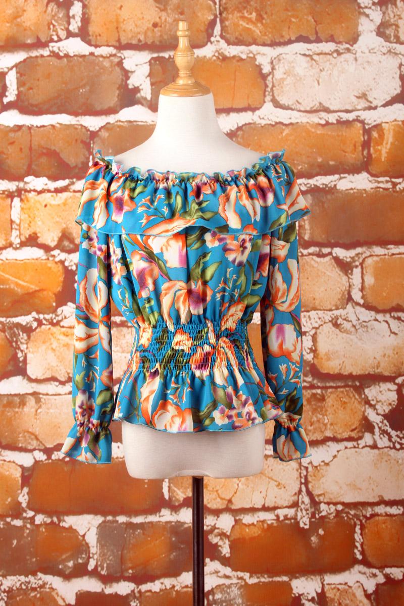 Flash Sale GILA manis sifon kerah strapless t-shirt (Biru bawah bunga besar  lengan panjang) (Biru bawah bunga besar lengan panjang) 8e58f4a0f8