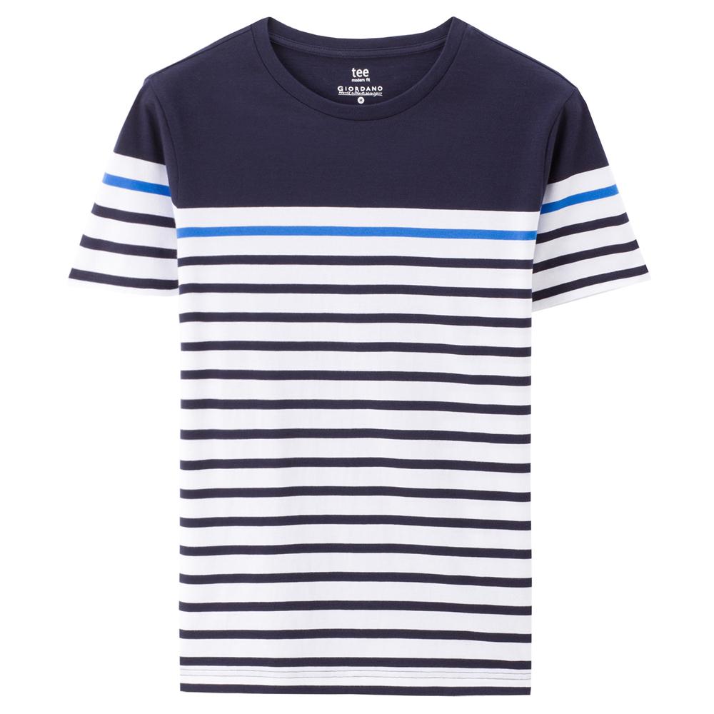 Giordano Katun Cahaya Memukul Warna Bergaris Lengan Pendek T-shirt T-shirt (64