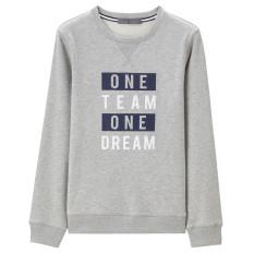 Giordano Musim Gugur Huruf Cetak Leher Bulat Sweter Kaos Sweater (10 Dalam Bunga Abu-