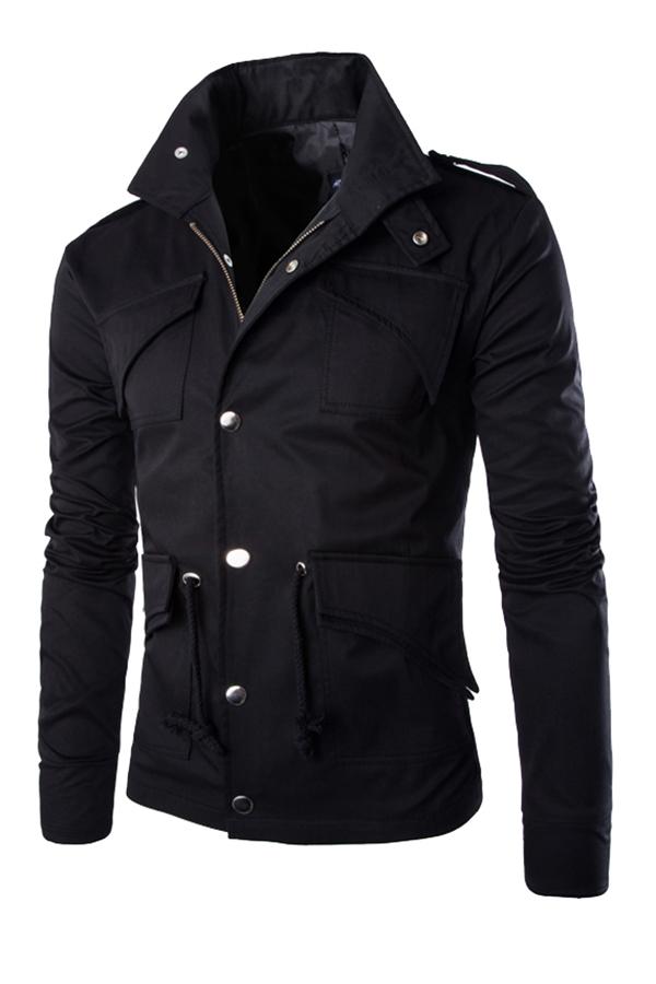 ... Gracefulvara Gaya Militer The Man Cocok Langsing Kerah Jaket Fashion Stan Rak (Hitam) ...