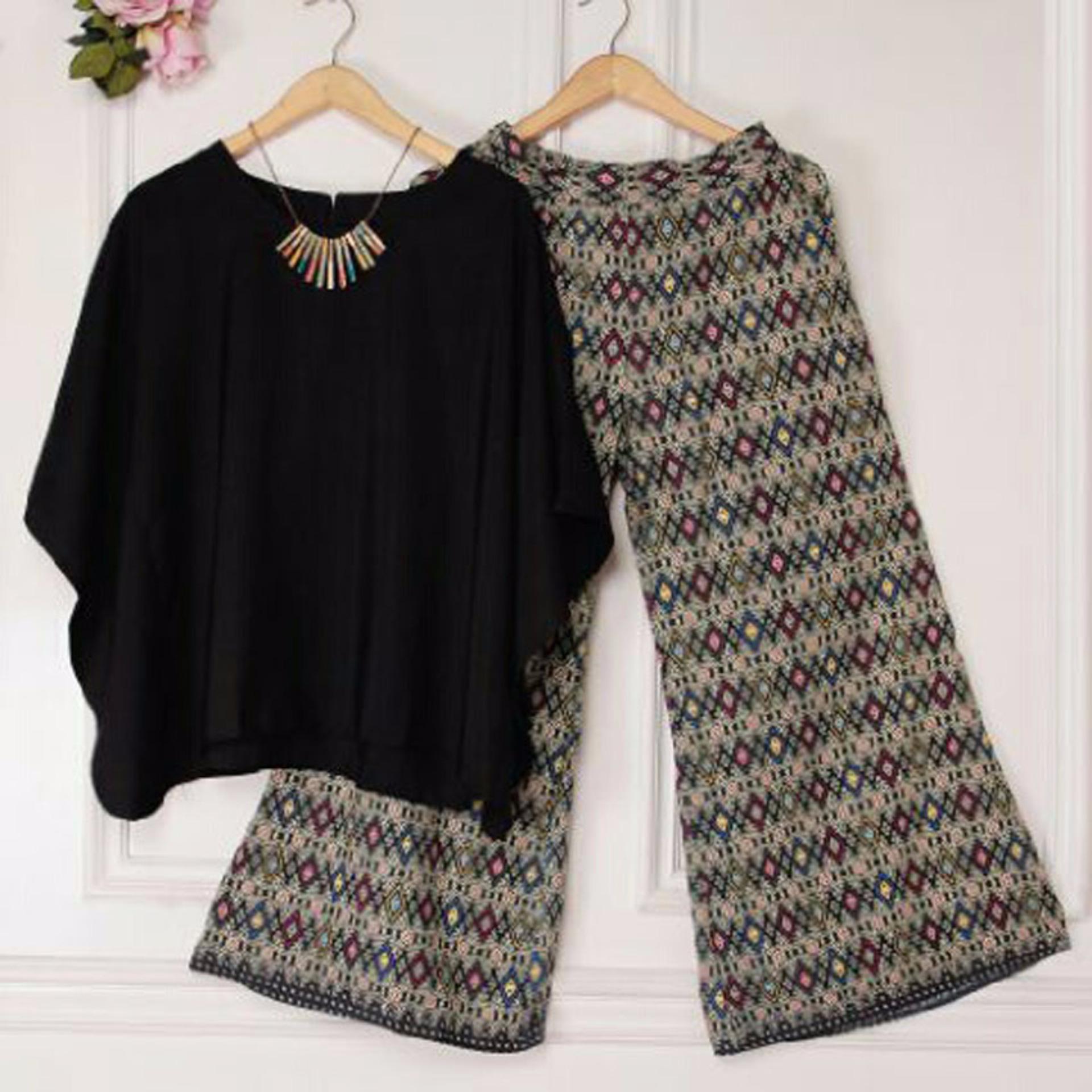 Grateful Setelan 2 in 1 Alexa Atasan dan Pants Kulot Wanita - Hitam