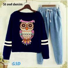 GSD - Setelan Baju Celana Jogger Wanita - Set Burhan Owl Navy