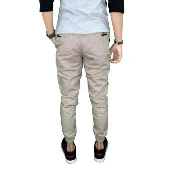 Harga Gudang Fashion Celana Distro Jogger Pria Cream Terbaru klik gambar.