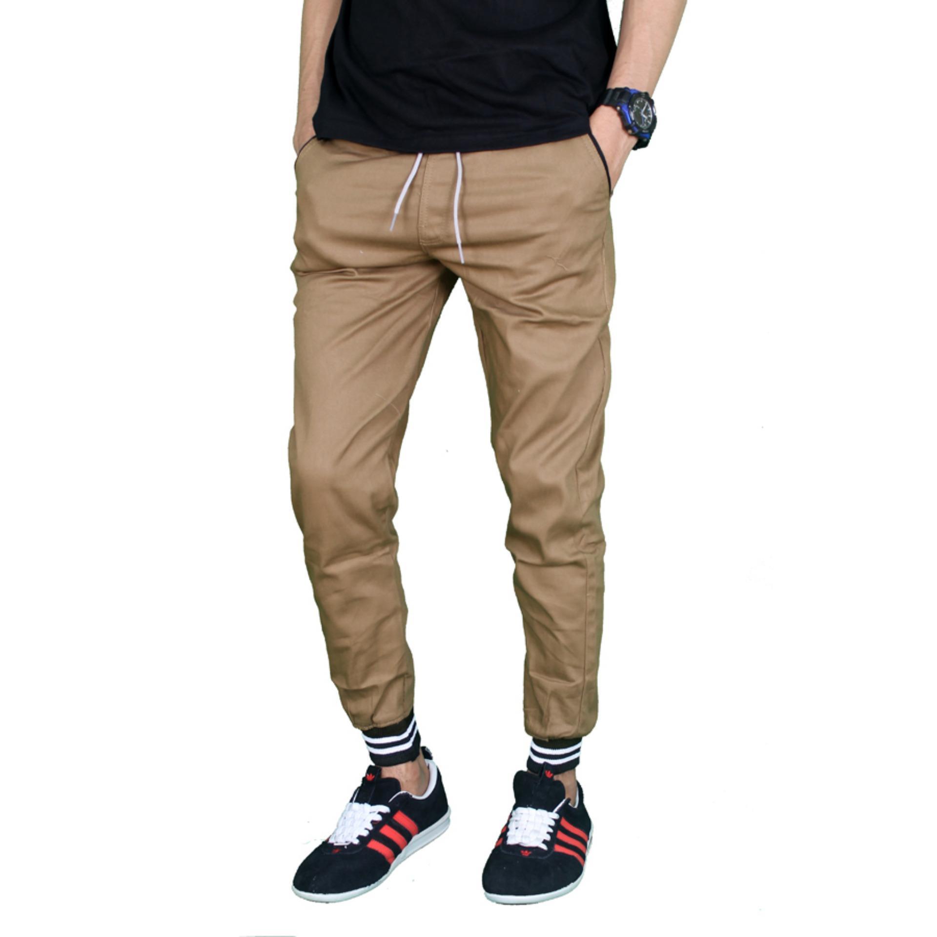 Gudang Fashion - Celana Panjang Jogger Pria Casual - Krem .