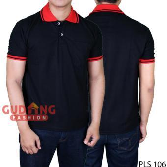 Diskon Gudang Fashion - Kaos Terbaru Polo Pria - Hitam Kerah Merah Harga Diskon RP 39.900 Beli Sekarang !!!