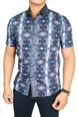 Krem Source · Gudang Fashion Kemeja Batik Pria Lengan Panjang Eksklusif Biru Tua .