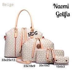 Hand Bag Korean Style Naomi 4 in 1 (Hand Bag / Tas Jinjing / Tas Bahu, Sling Bag / Tas Selempang, Pouch / Dompet, Key Holder) Cream