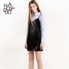 Haoduoyi2017 di Eropa dan Amerika warna solid baru v-neck Gaun (Hitam)
