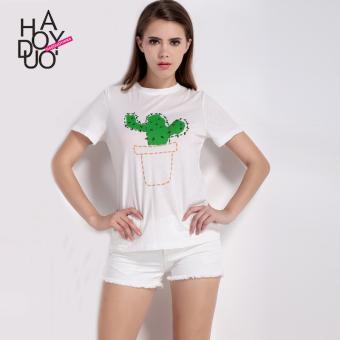 Gambar Haoduoyi2017 Shishang baru kaktus dicetak kasual t shirt (Putih) Merk: haoduoyi