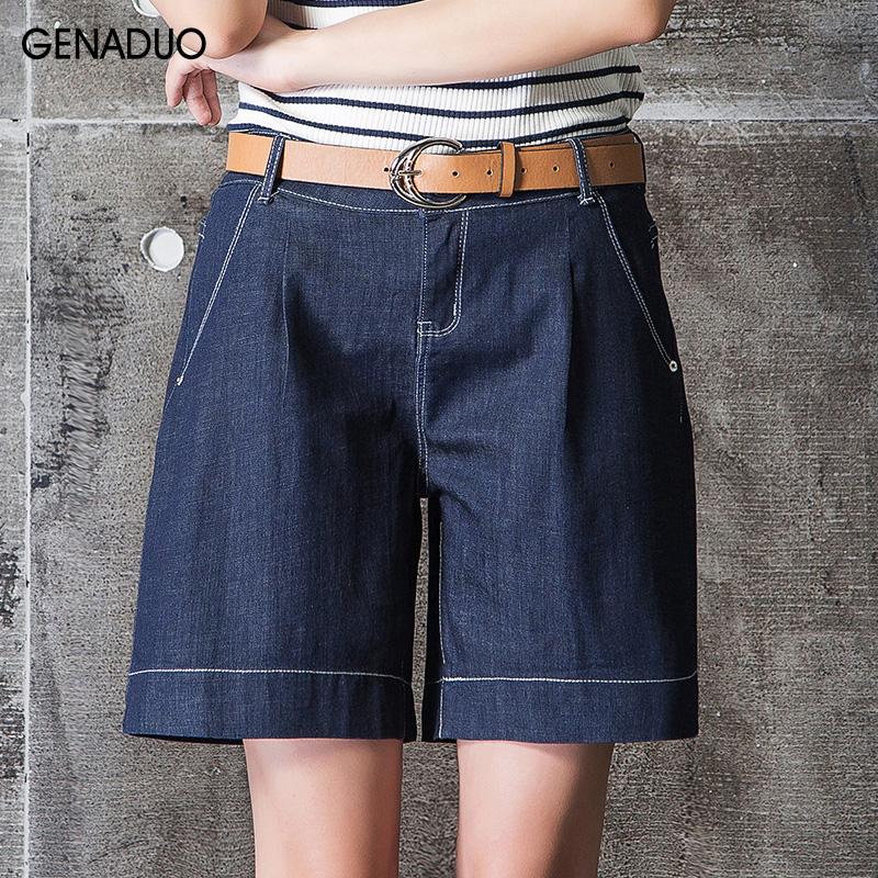 Flash Sale Harajuku denim baru tipis longgar lebar kaki celana celana pendek (5071 biru tua)