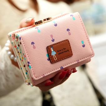 Harajuku Korea Fashion Style Siswa Perempuan Lipat Dompet Kecil Dompet (Merah muda)