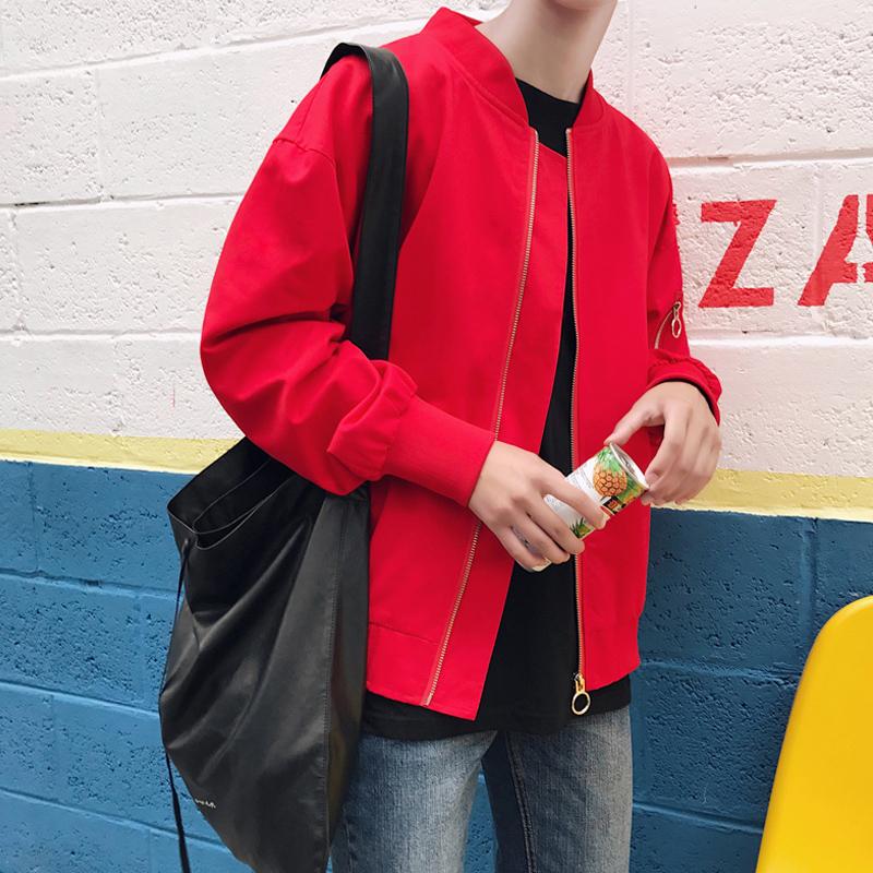 Flash Sale Harajuku Korea musim gugur baru mahasiswa pecinta jaket (Merah)