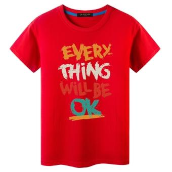 Gambar Harajuku lengan pendek laki laki angin musim panas t shirt (Merah OK) (
