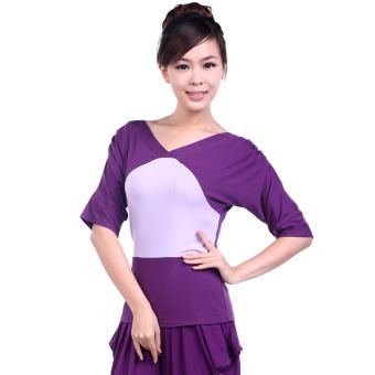 Harlan musim semi dan musim panas pakaian yoga baru pakaian Workout tari pakaian kebugaran t-shirt (Ungu ungu t-shirt)