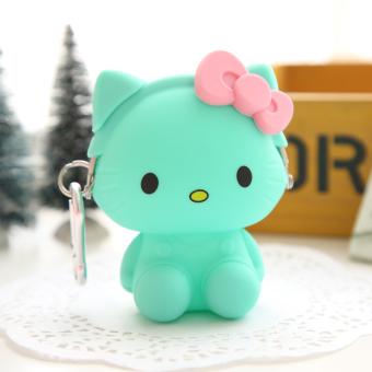 Hello Kitty lucu silikon perempuan gesper earphone tas dan dompet tas (Kitty berdiri kucing-