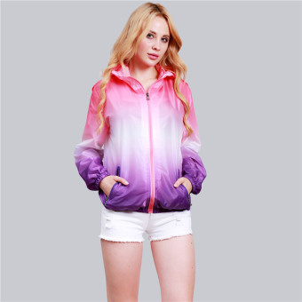HengSong Unisex Fashion Langsing Sports-Luar The Crowd Pakaian rak Berlengan Panjang Sinar UV Wanita Ritsleting Jaket Berwarna Merah Muda + Purple