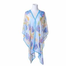 Hequ Summer Scarf Shawl Beach Sunscreen Bikinis Beach Towel Bikinis Elegant Blouse Blue - intl