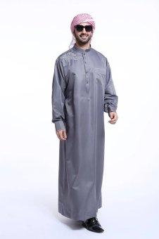 High Quality One-Piece Muslim Men Jubahs-Grey - intl - 5
