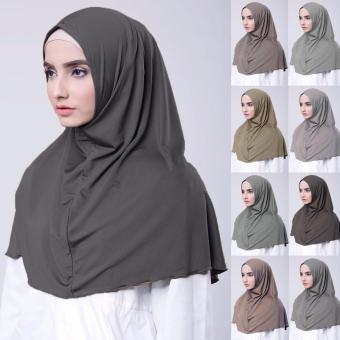 harga Hijab Jilbab Kerudung Instan Najwa - Jilbab Kaos Katun TC Premium - Abu Lazada.co.id