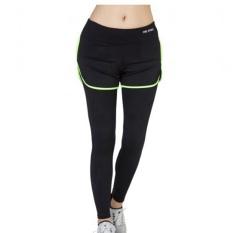 Hijau olahraga wanita celana elastis tinggi ruang olahragakebugaran olahraga Dua potong bernapas latihan atletik lari cepatkering