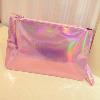 Holographic Envelope Pouch Clutch Bag Metallic Silver Hologram Shine Leather Pink - intl