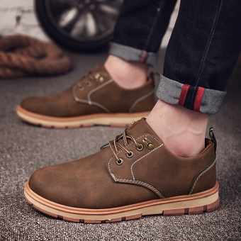 [HOT SALE] Men's classical safety shoes low cut Martin boots outdoor casual shoes(Brown) - intl - 2